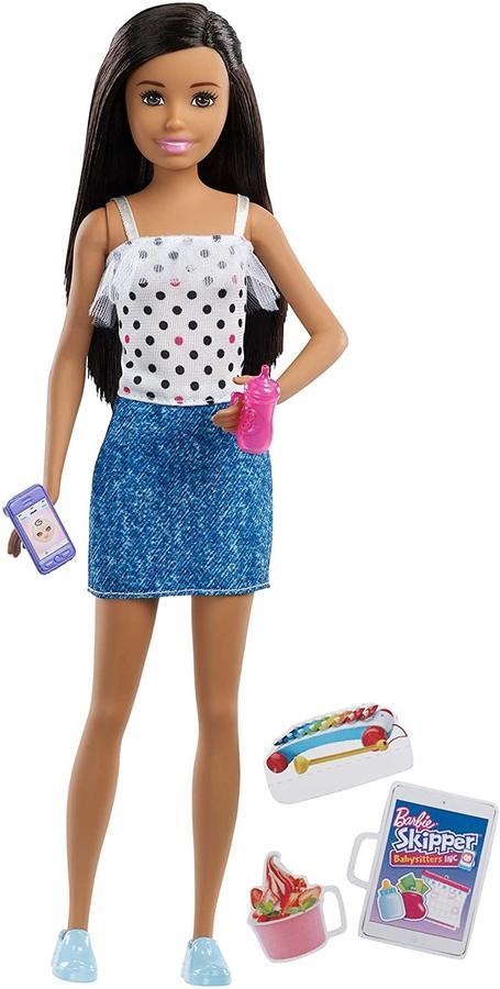 Barbie Skipper Babysitter brunetta con cellulare e biberon  - Mattel FXG92 - 3+ anni