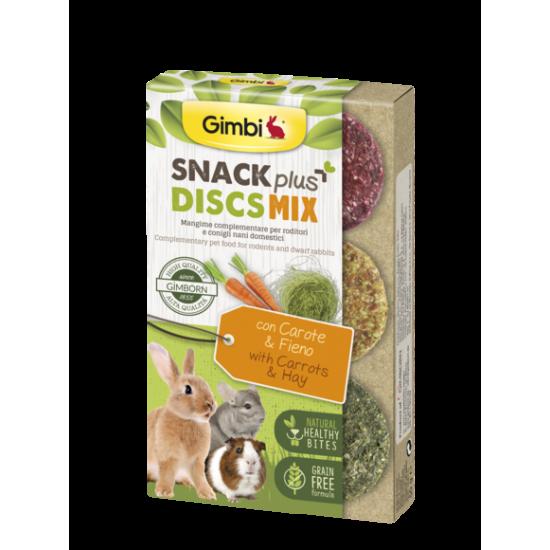 Gimbi Grain Free Snack Plus Discs Mix con Carote e Fieno