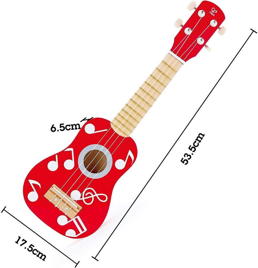 Ukulele in Legno, colore rosso - Hape - E0603 - 3+ anni