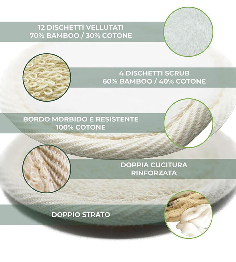 16 Dischetti struccanti lavabili naturali bambù e cotone liscio e scrub