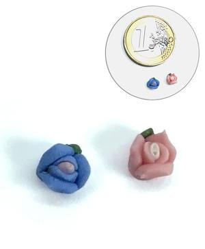 Fiori 3D - 10 Roselline per Nail Art - AZZURRE
