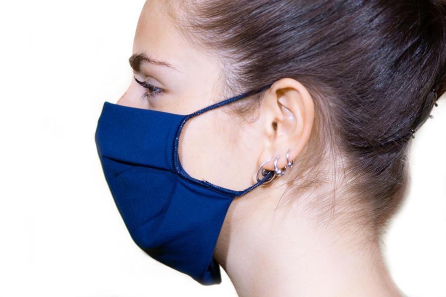 Mascherina lavabile in tessuto 3 strati StylePro - Blu Navy Elegance