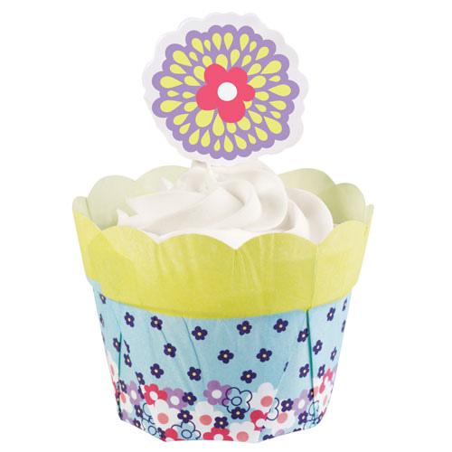 set 12 pirottini a fiori azzurri e bordo giallo con 12 pick a fiore Wilton