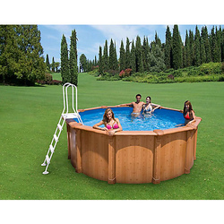 0041K Piscina Tonda New Plast Wood Pool 500 H 132 Filtro a Sabbia