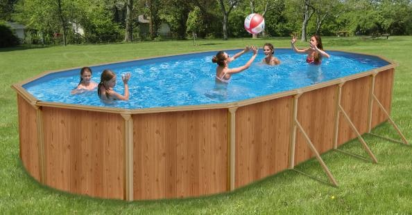 0043K Piscina Ovale New Plast Wood Pool 650 H 132 Filtro a Sabbia