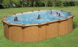 0044K Piscina Ovale New Plast Wood Pool 750 H 132 Filtro a Sabbia