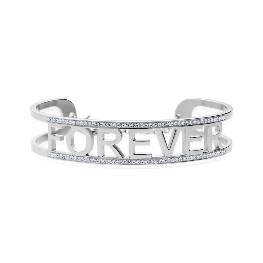 Bangle Stroili Forever in acciaio rodiato e strass