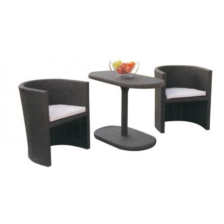Tavoli Da Giardino In Polyrattan.Salotto Da Giardino In Polyrattan Col Marrone Mod Taormina M 1 Tavolo 2 Poltrone 55385