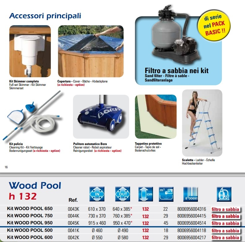 0044K Piscina Ovale New Plast Wood Pool 750 H 132 Filtro a Sabbia