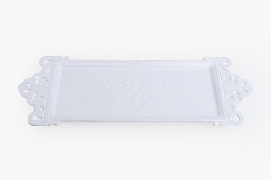 Vassoio lungo traforato in porcellana bianca
