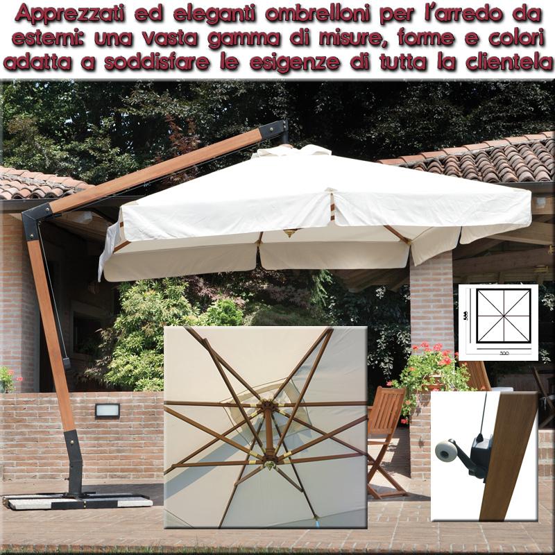 Ombrellone legno professionale 3 x 3 impermeabile superior DE LUX