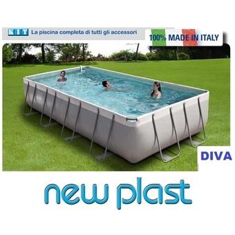 Piscina Fuori Terra da Esterno Rettangolare New Plast Diva 400 cm 390x220 H 100 filtro cartuccia