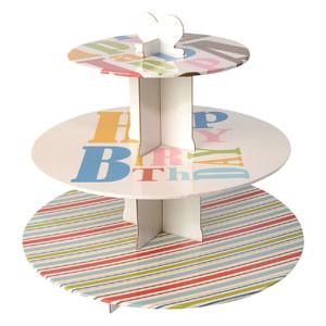 Alzata a 3 livelli per muffin e cupcakes decoro happy birthday