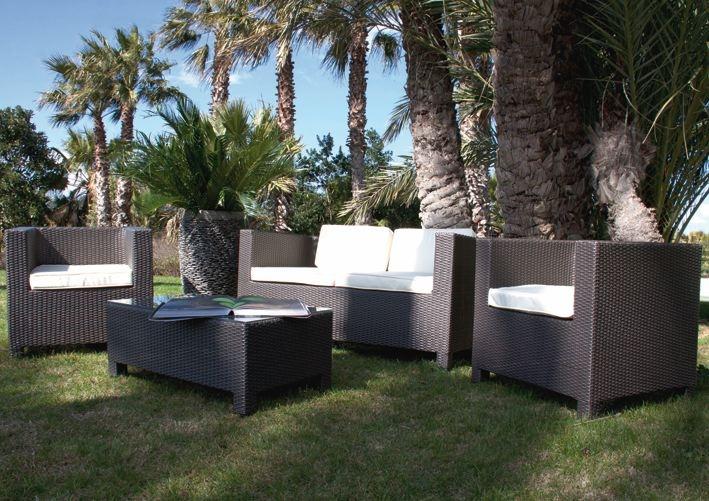 Salotto da giardino in polyrattan colore marrone mod for Set giardino esterno