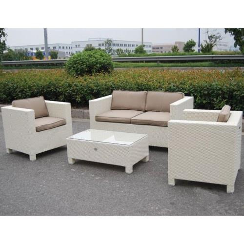 Salotto da giardino in polyrattan colore bianco mod for Salotto giardino