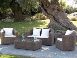Salottino Salotto da Giardino mod. LIPARI in Polyrattan colore Beige scuro Set 4 Pz 2 poltrone 1 divano e tavolino