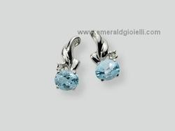 ERD131 Orecchini Miluna gemma del cielo topazio naturale e diamante
