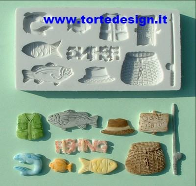 stampo silicone tema pesca (mould)