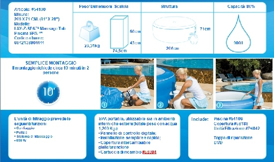 BESTWAY-Piscina vasca idromassaggio Lay-Z Massage Tub d.206xh71cm 4 adulti 54100