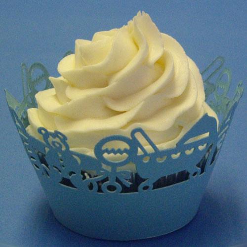 Set 12 wraps per cupcakes  traforati azzurro baby perlato