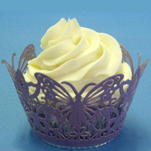 Set 12 wraps per cupcakes  traforati farfalle lilla perlati