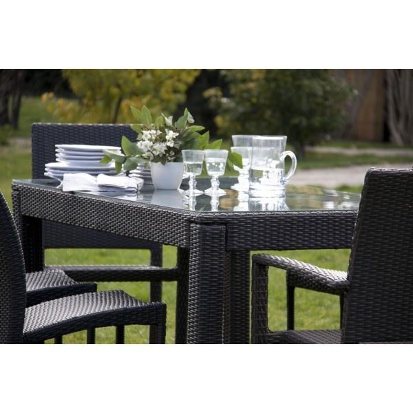 Tavolo da Giardino in Polyrattan mod.Sciacca col. Marrone 160X90Xh74 Cm Papillon