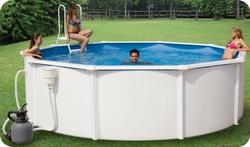 Piscina caribe 500 diam 460 x 120 con filtro a sabbia ed accessori new plast