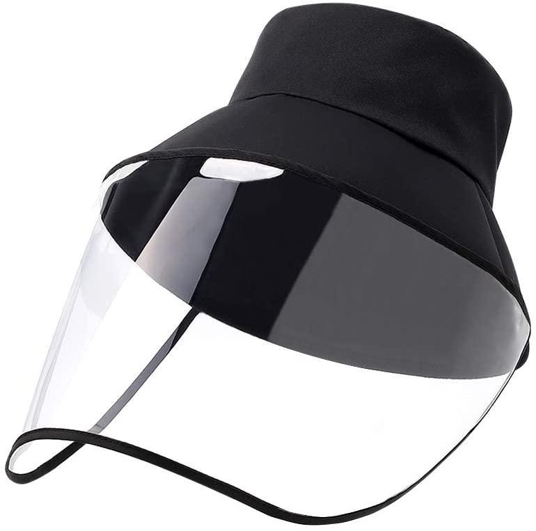 Cappello nero in cotone di protezione UNISEX con visiera staccabile in cotone