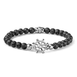 Bracciale Uomo elastico Argento Perle di Lava