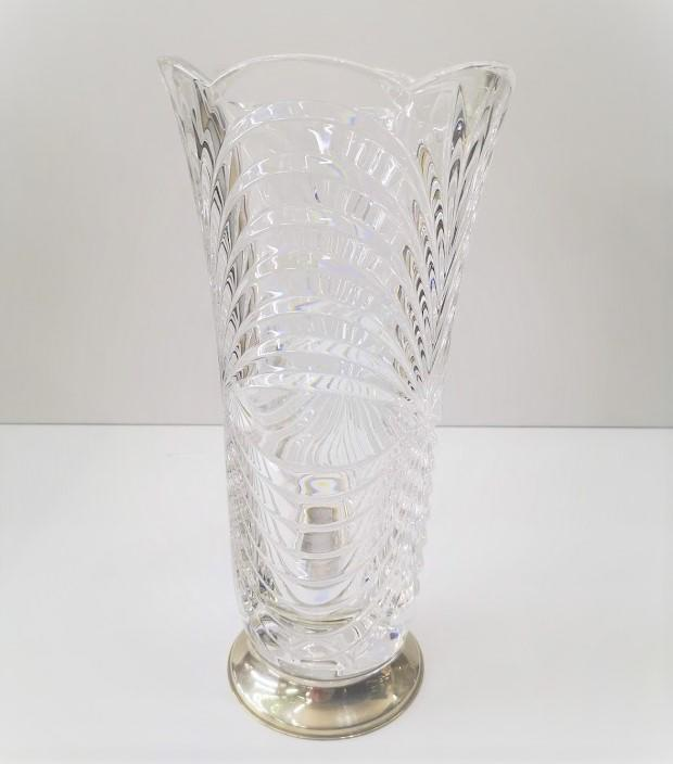Vaso in cristallo con base in argento 925