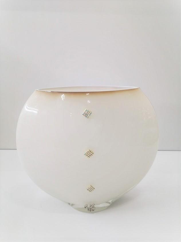 Vaso bianco con strass