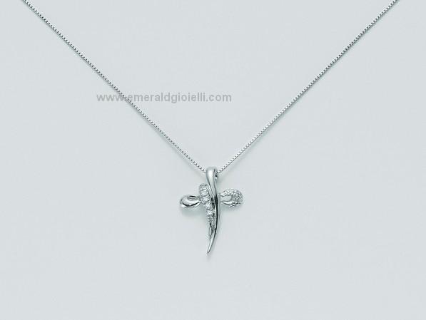 CLD3133 Girocollo con Croce e Diamanti Miluna