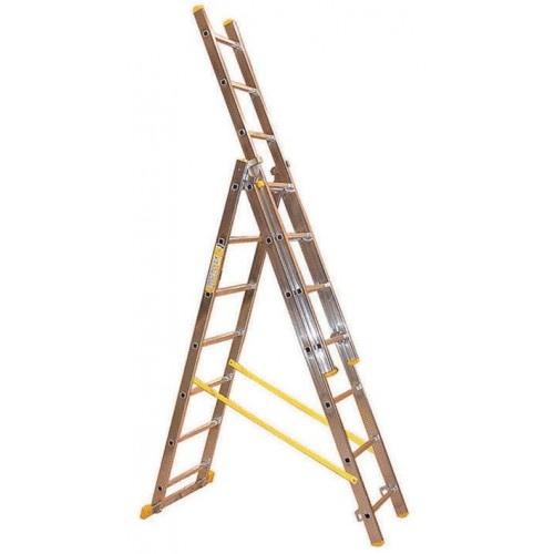 Scala trasformabile 3 rampe in alluminio Maurer 3 x 9 gradini 5,6 mt 88775