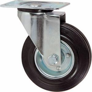 Ruota in gomma con piastra girevole Maurer Piastra 105x85