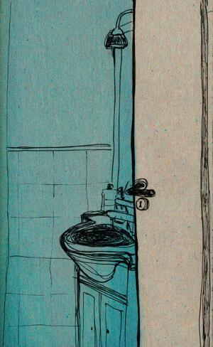 GIULIA BELCASTRO in arte MATERIAE, STAMPA FORMATO A4 firmata: INSIDE THE BATHROOM