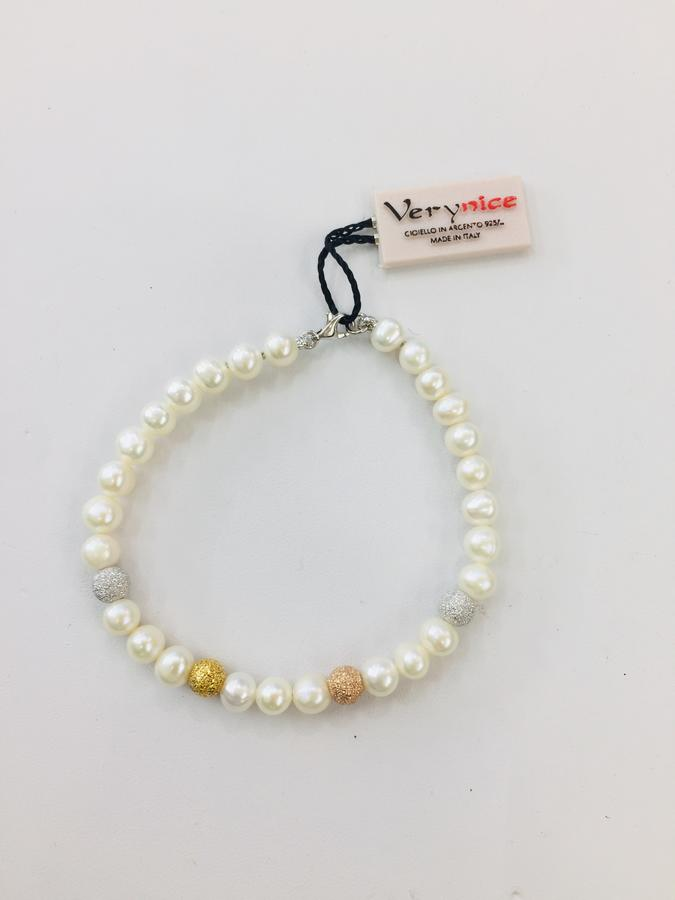 Braccialetto Perla Bianca e Sfere Argento