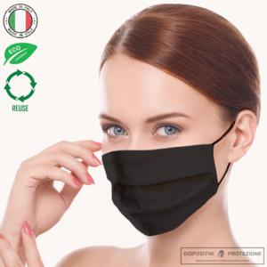 Mascherina lavabile in tessuto 3 strati StylePro - Total Black Elegance