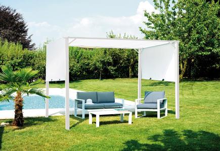 Ricambio telo PERGOLA da giardino CON TETTO in tela SCORREVOLE 3,5×2,5 mt. ferro epoxy bianco GAZ 502