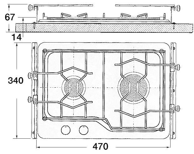 Piano Cottura 2 Fuochi Techimpex - Offerta di Mondo Nautica 24