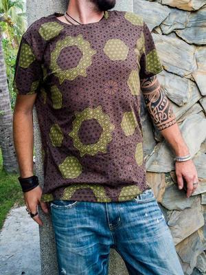 T-shirt uomo Ashok stampa serigrafica - fiore della vita marrone e verde