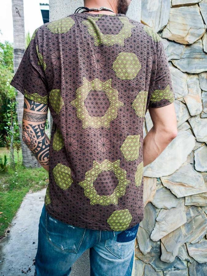 Men t-shirt Ashok silkscreen print - brown & green