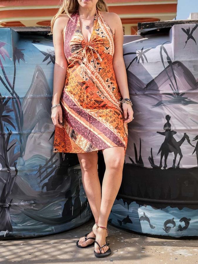 Short dress woman Medha with neck lacing - ethnic orange