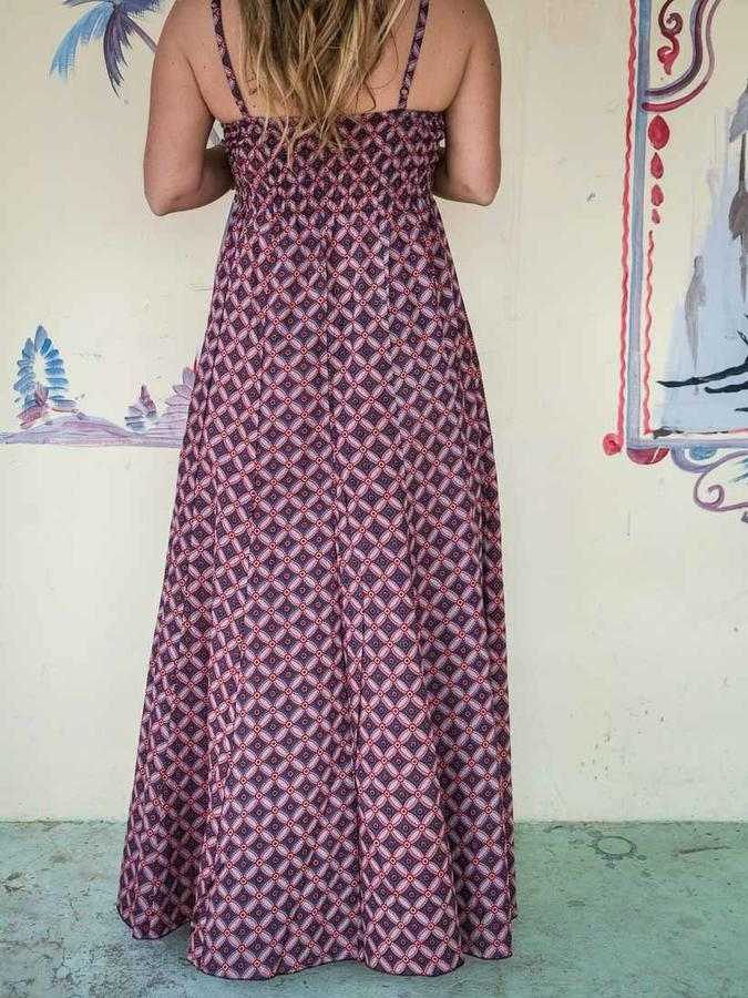 Long woman dress Ashalata - light red blue