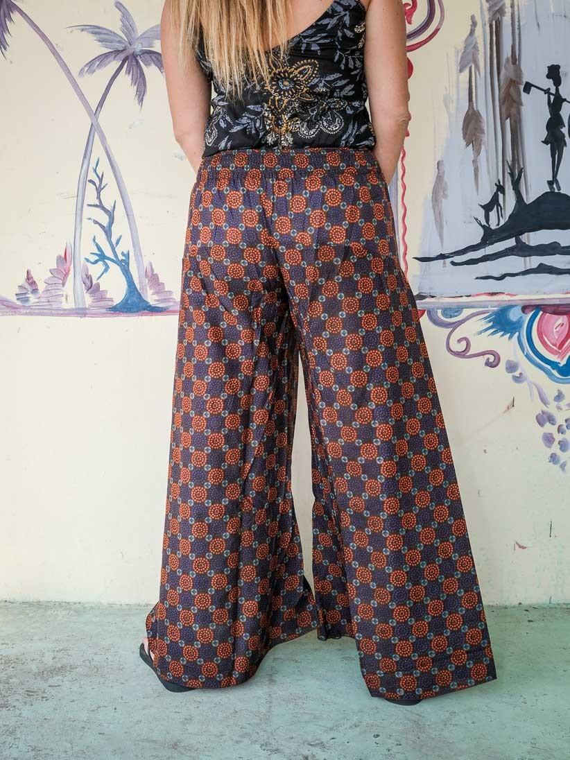 La città deflusso Sobrio  Offerta! 🚨 Pantalone donna lungo Ekta gamba larga - arancione viola etnico