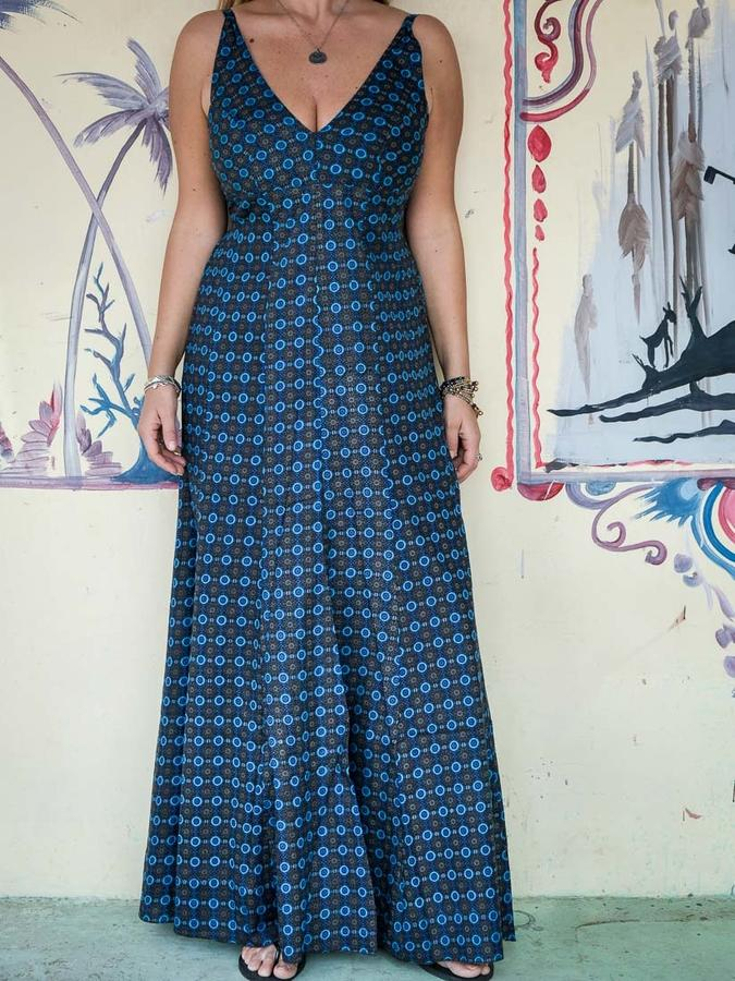 Vestito donna lungo Ashalata - blu fiorato