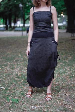 Long woman Jumpsuit Vaishali low crotch – dark gray
