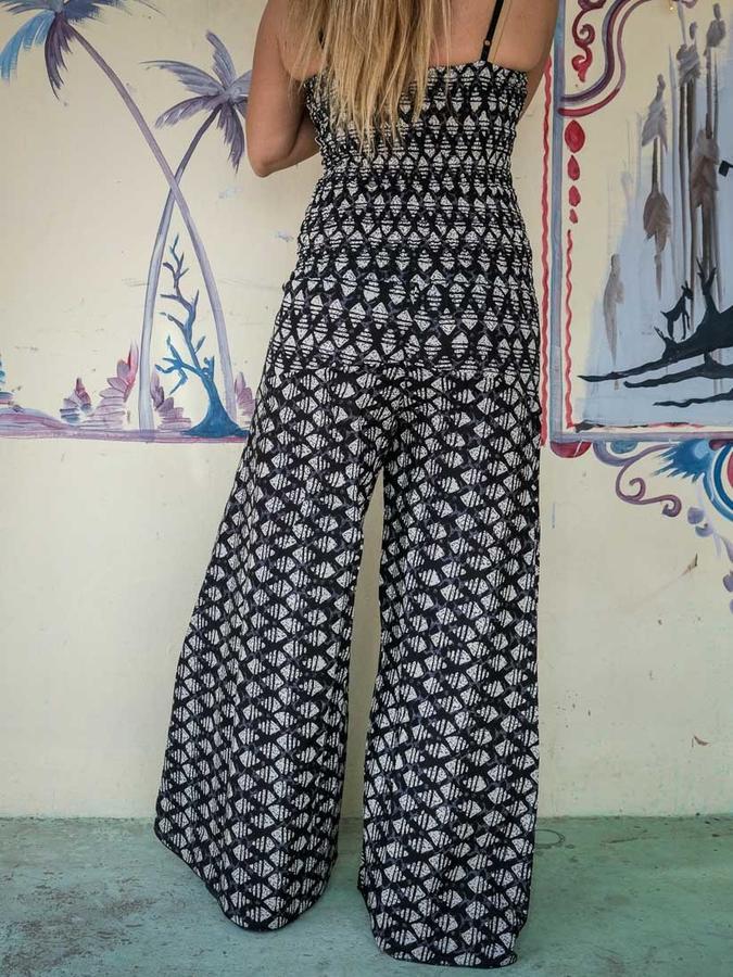 Women's long Jumpsuit Sapna - geometric black & white