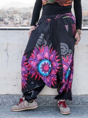Pantalone donna aladino Aruna - nero con mandala