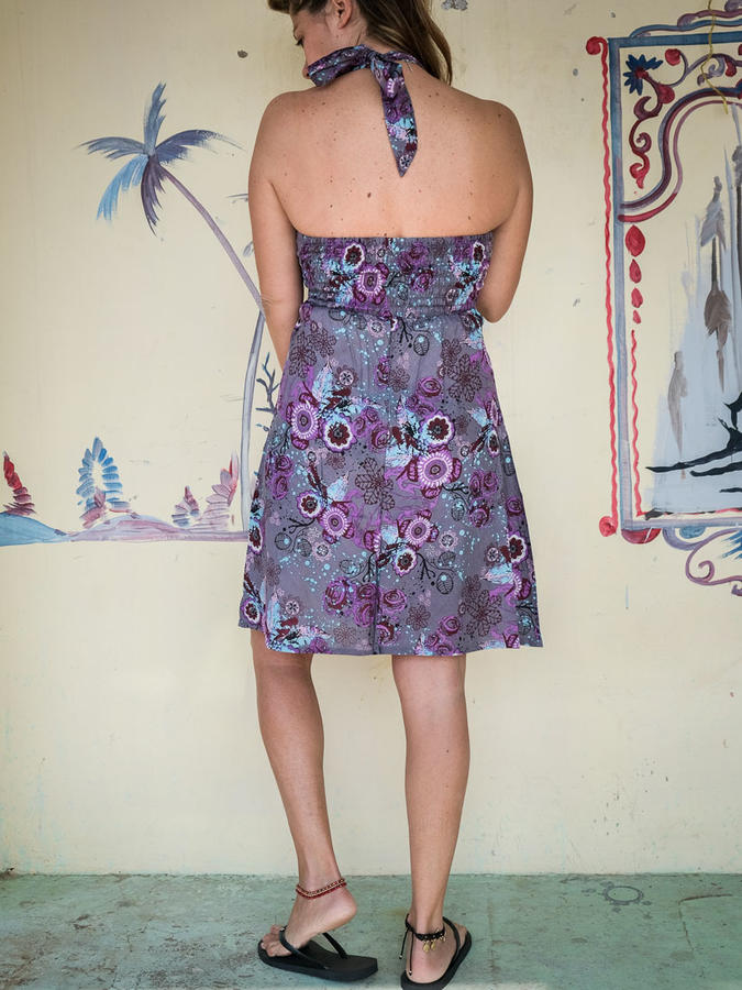 Short dress woman Medha with neck lacing - floral purple
