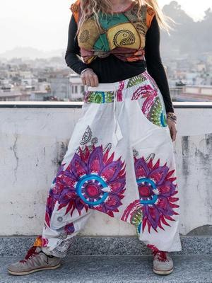 Pantalone donna aladino Aruna - bianco con mandala